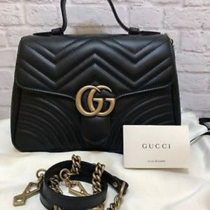 Gucci Marmont GG Leather Flap Bag